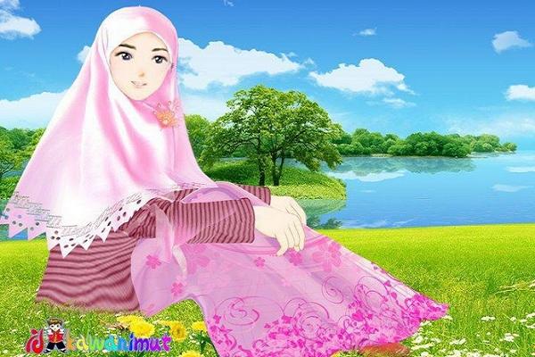 cara merawat rambut muslimah berjilbab - ilustrasi desainkawanimut